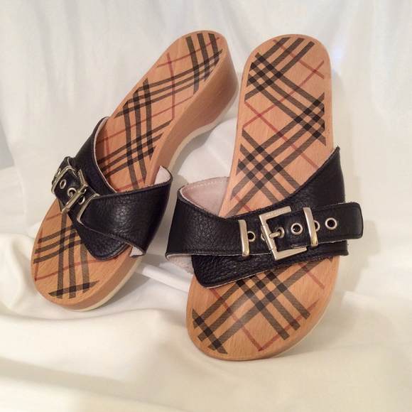 Burberry Shoes - Burberry Wood and Leather Slides